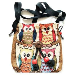 Handbags - Adorable Owl Tapestry Crossbody Drawstring Purse